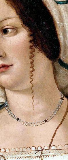 """Portrait of a Lady"" (detail), by Bartolomeo Veneto (Italian, active 1502 - 1546)."