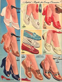 Spring and Summer 1955 Lane Bryant Vintage Shoes, Vintage Outfits, 1950s Fashion, Vintage Fashion, 1950s Shoes, Plus Size Clothing Stores, Shoes Ads, 20th Century Fashion, Nylons Heels