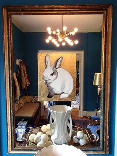 Sullivan Dunn Bunny painting on mirror
