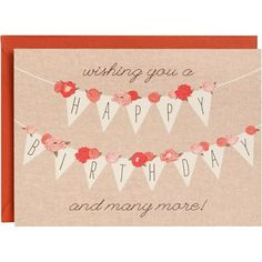 With a feminine look, this pretty birthday card is also eco-friendly. Made from recycled materials, designed by Paper Source and printed in the USA. Blank inside.<br><br>Single folded A6 card (4.5 x