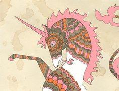 Unicorn - Art Print 8x10. $16.00, via Etsy.