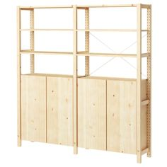 IKEA - IVAR, 2 section shelving unit w/cabinet, Untreated solid pine is a durable natural material that can be painted, oiled or stained according to preference.You can move shelves and adapt spacing to suit your needs. Garage Storage Units, Garage Shelving, Garage Shelf, Shelving Ideas, Storage Shelves, Ivar Regal, Armoire En Pin, Pine Cabinets, Foldable Table