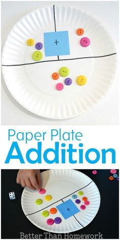 Make a simple DIY paper plate addition game to help your child practice their addition and even subtraction skills kindergarten Paper Plate Addition Game Preschool Learning, Kindergarten Activities, Teaching Math, Preschool Activities, Kindergarten Addition, Teaching Addition, Addition Activities, Math Games For Preschoolers, Activities For 5 Year Olds