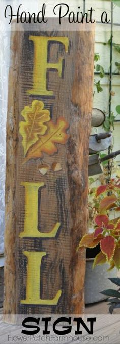 Easy tutorial for this DIY crafts, Hand painted rustic home decor Fall sign with acorns and leaves, Great pallet projects