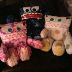 Pyjama Monsters I made last Christmas. Pattern courtesy of sew fearless: http://sewfearless.com/2011/08/05/pajama-eaters-the-tutorial/