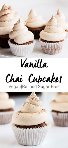 Vanilla Chai Cupcakes - A delicious cupcake recipe that has beautifully soft hints of chai spices. Vegan and refined sugar free.