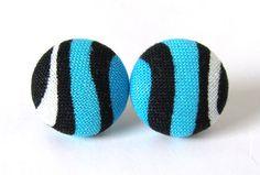 Blue post earrings studs white black stripes summer by KooKooCraft, $12