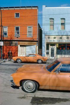 Fred Herzog, Orange Cars, Powell, 1973.