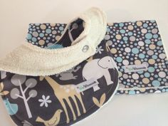 ORGANIC Cotton Terry Bib and Burp Cloth Set   Michael Miller Grey and Blue Zoology and Dots