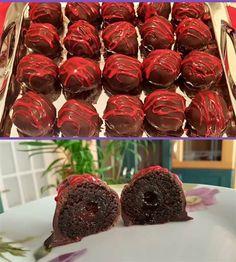 Σοκολατένιες Μπόμπες Κέικ γεμιστές με κεράσι #Γλυκά