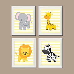 JUNGLE Nursery Wall Art ELEPHANT Giraffe Lion Zebra Set of 4 Prints Zoo SAFARI Animals Baby Boy Decor Wall Art Jungle Decor Bedding Picture on Etsy, $37.00