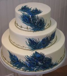 Peacock Themed Cake...for a wedding, birthday, or just because it's beautiful.