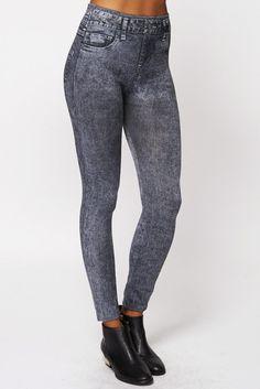 Acid Wash Jean Detail Thermal Leggings