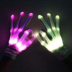 New 1pair Chic Led Light Up Skeleton Hand Gloves Halloween Christmas Costume Decor Dependable Performance Apparel Accessories