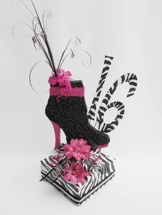 Shoe Centerpiece Ideas | Zebra Sweet 16 Centerpiece | www.DesignsbyGinny.com/blog