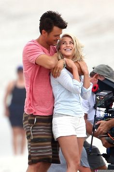 "julianne hough with josh duhamel filming 'Safe Haven"" love her hair And cannot wait for this movie!!!! I loved the book"