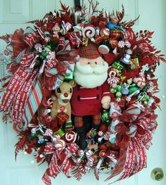 Custom order XL Rudolph the Red Nose Reindeer wreath, Santa, or frosty the Snowman, Christmas wreath, Holiday wreath, Door wreath, on Etsy, $195.00