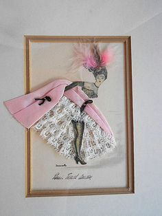Rare RIBBON Paper DOLL Silhouette PICTURE Rose by pinkchicboutique
