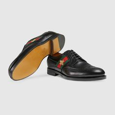 Gucci Leather lace-up with bee Web Detail 5