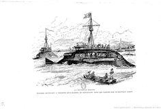 """Albert Robida, « La nouvelle Marine. – Navires devenant à volonté sous-marins et naviguant sous les vagues par le mauvais temps », in : """"Le vingtième siècle"""", Paris, G. Decaux, 1883"""