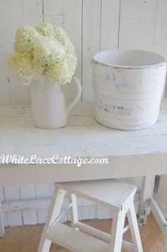 White Lace Cottage. Hydrangea. Pitcher