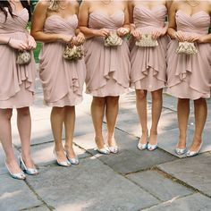 Color of dresses and I LOVE the idea of a lil bling clutch instead of flowers for the wedding =) Thoughts?
