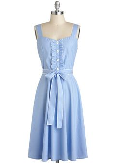 Me and Ukelele Dress - Blue, White, Buttons, Belted, Casual, Pastel, A-line, Sleeveless, Spring, Cotton, Long, Vintage Inspired