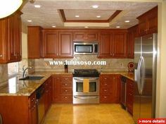 oak cabinets in u shape kitchen | Kitchen Cabinet with Granite Counter Tops and Stainless Steel Sink (U ...