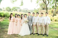Wedding Day Bridesmaids Ideas Groomsmen Ideas Khaki Suspenders & Grey Bow Ties Blush Dresses Gunawan & Melisa