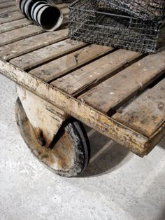 vintage trolley coffee table with castor wheels