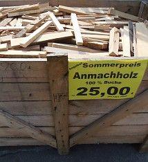 Anmachholz Holz Brennholz Kaminholz trocken Buche nur