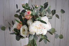 Peony Eucalyptus Bouquet, Blush Boho Wedding, Seeded Eucalyptus, Silver Dollar Eucalyptus, Dusty Miller Peony, Loose Bouquet