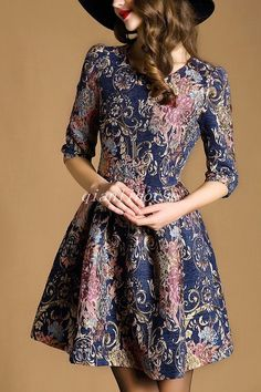 Women A-Line Floral Dress 3/4 Sleeve Round Collar Slim Fit Pleated Skirt Dresses
