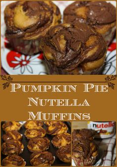 Pumpkin Pie Nutella Muffins- a delicious fall treat for breakfast or dessert! Nutella Muffins, Baking Muffins, Baked Pumpkin, Pumpkin Recipes, Pumpkin Pumpkin, Easy Desserts, Delicious Desserts, Yummy Food, Holiday Recipes