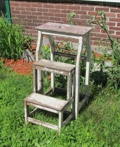 Vintage Antique 1920's Wood Wooden Step Stool Ladder Fold Out Steps Shabby Chic