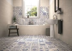 Blue/White Victorian Pattern design Patchwork effect Wall Floor Tiles RRP £59.99 in Home, Furniture & DIY, DIY Materials, Flooring & Tiles | eBay