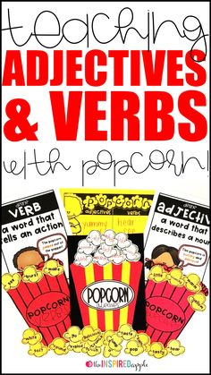 Teaching your kindergarten, first grade, and second grade students about adjectives and verbs has never been MORE FUN! You'll use popping popcorn (either in a microwave or with an actual popcorn popper) to teach your students about adjectives and verbs, e Verb Activities For First Grade, Adjectives Activities, First Grade Lessons, Nouns And Adjectives, Grammar Activities, Plural Nouns, Speech Activities, Adverbs, Prepositions