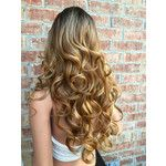 """Honey Syrup Bayalage Volume Curls Human Hair Blend Lace Wig 24"""" Hot Rollers"""