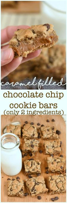 Caramel Filled Chocolate Chip Cookie Bars with only take two simple ingredients and they are out of this world delicious! #easyd