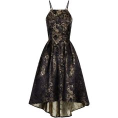 Chi Chi London Metallic Oriental Floral Dip Hem Dress ($88) ❤ liked on Polyvore featuring dresses, black, clearance, high low cocktail dress, cocktail dresses, little black cocktail dresses, holiday cocktail dresses and floral print cocktail dress
