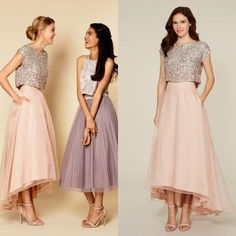 2016 Two Piece Bridesmaid Dresses Blush Sequin Top Short Sleeves Maid Of Honor Dresses Hi-Lo Junior Wedding Party Dresses Plus Size
