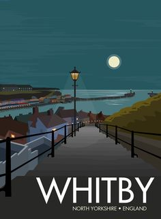 The picturesque fishing town of Whitby sits on on the east coast of England in North Yorkshire. Famed for its gothic abbey, the 199 steps (from which this Yorkshire England, North Yorkshire, England Uk, Whitby England, Scarborough England, Yorkshire Day, Posters Uk, Railway Posters, Poster Prints