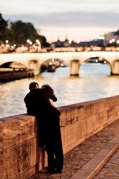 Stealing a kiss on the bridge of Chateau d'Esclimont in Paris, France - My French Love Story Rio Sena, Pont Paris, My Little Paris, Paris Ville, I Love Paris, Belle Photo, Love Story, Photos, Pictures