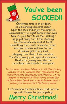 You've been SOCKED!  Christmas fun for friends at the office, your neighbors and friends.  So cute.