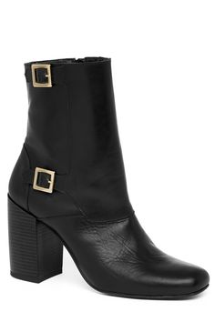 Boots | Black Double Buckle Ankle Boots | Warehouse