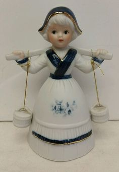 "Vintage 1983 Artmark Porcelain ""Dutch Girl/Milkmaid"" Collectible Decorative Bell"