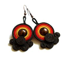 Items similar to Soutache earrings-Autumn /Fall colors trendy. on Etsy Soutache Earrings, Crochet Earrings, Jewelry Crafts, Handmade Jewelry, Quilling, Jewelry Accessories, Etsy, Beads, Pendant