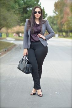 Girl With Curves: Corporate Classics {Wearing} Aviator Sunnies thanks to Guess / Forever 21 Blazer / New York & Co. Blouse / Gucci Watch / Michael Kors Satchel / New York & Co. Trousers / Cole Haan Slingbacks