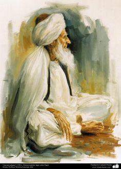 Pintura Anciano afgano (1995) - lápiz sobre Papel- Artista: Profesor Morteza Katuzian