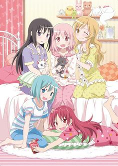 Madoka Magica. Most beautiful but sad anime ever..... But I love this picture so much I just wanna squeeze them^-^